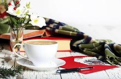 Kawy espresso filiżanki Biała kartka bożonarodzeniowa Obraz Stock