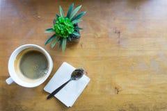 Kawy espresso kawa w białej filiżance z kopii przestrzenią zdjęcie stock