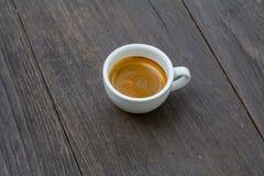 Kawy espresso kopia strzelająca na drewnianym tle Fotografia Stock