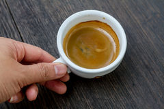 Kawy espresso kopia strzelająca na drewnianym tle Zdjęcie Stock