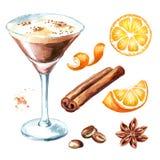 Kawy espresso Martini koktajl z coffe adra ustawiającymi pikantność i Akwareli ręka rysująca ilustracja, odizolowywająca na biały ilustracja wektor