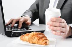Kawy i croissant śniadanie Obraz Royalty Free