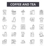 Kawy i herbaty kreskowe ikony, znaki, wektoru set, kontur ilustracji pojęcie ilustracja wektor