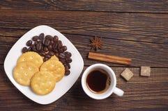 Kawy i krakersa ciastka Obraz Stock