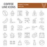 Kawy ikony cienki kreskowy set, cukierniani symbole kolekcja, wektor kreśli, logo ilustracje, kofeina znaki liniowi ilustracji