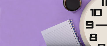 Kawy notepad & zegaru sztandaru projekt Zdjęcia Stock