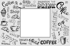 Kawy rama, ręka rysujący znak, literowanie, i Obrazy Stock