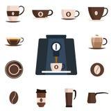 Kawy ustalona płaska ikona Projekta set również zwrócić corel ilustracji wektora Obrazy Stock