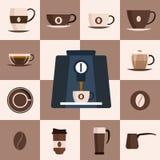 Kawy ustalona płaska ikona Projekta set również zwrócić corel ilustracji wektora Obraz Stock