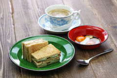 Kaya jam toast with a cup of white coffee Royalty Free Stock Photos