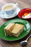 Kaya jam toast with a cup of white coffee. Singaporean malaysian breakfast Royalty Free Stock Photography