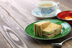 Kaya jam toast with a cup of white coffee. Singaporean malaysian breakfast Royalty Free Stock Images