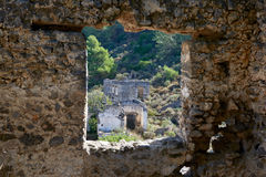 Kayaköy, antico conosciuto come Lebessos e Lebessus in Lycia Turkey Fotografie Stock