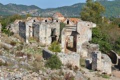Kayaköy, antico conosciuto come Lebessos e Lebessus in Lycia Turkey Fotografia Stock Libera da Diritti