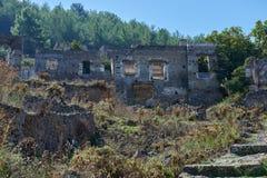 Kayaköy, antico conosciuto come Lebessos e Lebessus in Lycia Turkey Fotografia Stock