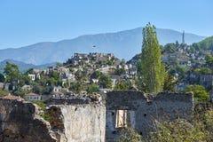 Kayaköy, antiguo conocido como Lebessos y Lebessus en Lycia Turkey imagen de archivo libre de regalías