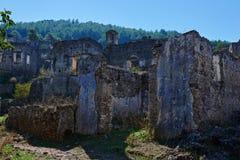 Kayaköy, antiguo conocido como Lebessos y Lebessus en Lycia Turkey foto de archivo libre de regalías