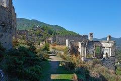 Kayaköy, antiguo conocido como Lebessos y Lebessus en Lycia Turkey foto de archivo