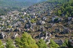 Kayaköy, antiguo conocido como Lebessos y Lebessus en Lycia Turkey fotos de archivo libres de regalías