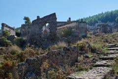Kayaköy, conhecido antigamente como Lebessos e Lebessus em Lycia Turkey Fotografia de Stock