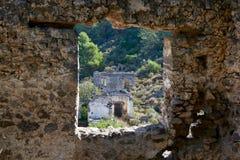Kayaköy som anciently är bekant som Lebessos och Lebessus i Lycia Turkey Arkivfoton