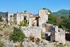 Kayaköy som anciently är bekant som Lebessos och Lebessus i Lycia Turkey Arkivbild