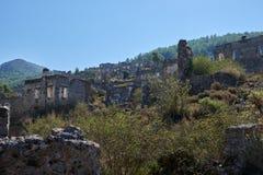 Kayaköy som anciently är bekant som Lebessos och Lebessus i Lycia Turkey Royaltyfria Bilder