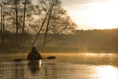 Kayak. Cold morning view with kayaks royalty free stock image