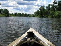 Kayak. View of nice river and kayak stock photography
