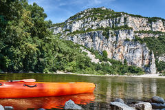 Kayak on the bank of the river. Ardeche in France Stock Photos