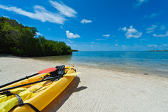 Kayak in the beach Stock Image