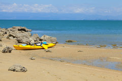 Kayak on the beach Royalty Free Stock Photos