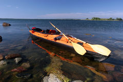 Kayak on a beach. On the Baltic Sea in Scandinavia Royalty Free Stock Photography
