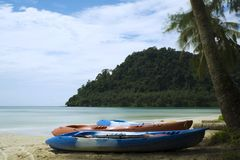 Kayak on the beach waiting for tourists Royalty Free Stock Image