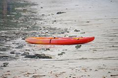 Kayak on the beach at Horse Shoe Island in Myanmar. Seascape Stock Photography