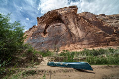 Kayak on a beach in Labyrinth Canyon, Utah, USA Royalty Free Stock Images