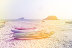 Kayak on the beach made with color filters. Soft Focus royalty free stock photography