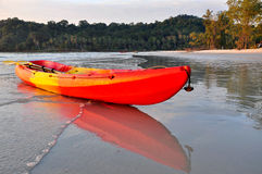 Kayak in the beach. Kayak ready to be used in the beach stock photos