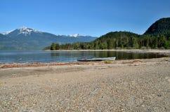 Kayak. Beached Kayak - Harrison Lake - BC, Canada Stock Image