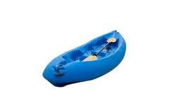 Kayak blue boat and paddle. Isolated on background stock images