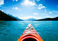 Kayak on blue lake Royalty Free Stock Images