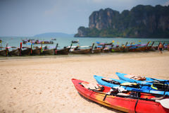 Kayak boat on beach Stock Image