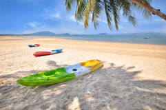 Kayak boat with coconut palm trees and tropical beach background Royalty Free Stock Image