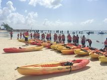 Kayak guided tour in CocoCay. Kayak boat guided tour in CocoCay Island, Bahamas royalty free stock images