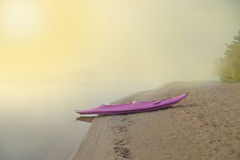 Kayak Boat in the Lake at dawn. Onterio Canada Royalty Free Stock Image