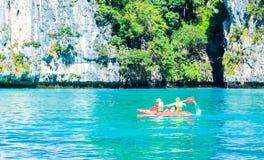 Kayak boat in MAYA Bay Phi Phi Islands Andaman sea  Krabi Thaila Royalty Free Stock Photo