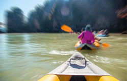 Kayak boat tourism. Select focus head of kayak boat tourism on ocean island floating Phuket Thailand Royalty Free Stock Photos