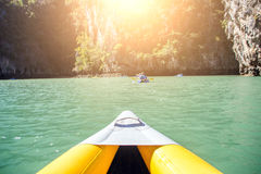 Kayak boat tourism. Select focus head of kayak boat tourism on ocean island inasian  Phuket Thailand Royalty Free Stock Photography
