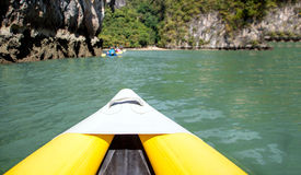 Kayak boat tourism. Select focus head of kayak boat tourism on ocean island inasian  Phuket Thailand Royalty Free Stock Photos