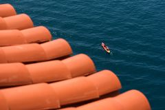 A kayak boating in the sea stock photography